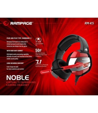 Rampage RM-K5 NOBLE Black/Red 7.1 Gaming Kulaklık